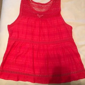 Coral Crochet Tank Top